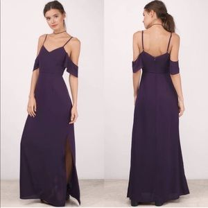 TOBI Purple Cold Shoulder Short Sleeve Maxi Dress